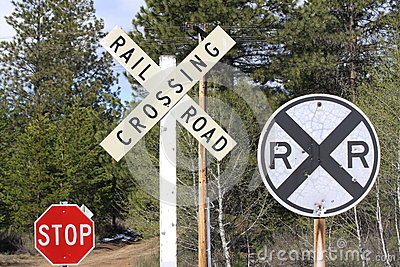 Signs at a Railroad Crossing