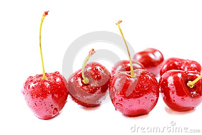 Fresh ripe red cherry berries  on white background.