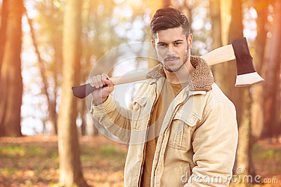 Handsome young men with axe