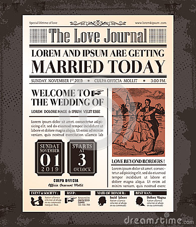 Vintage Newspaper Wedding Invitation Card Design - Wedding newspaper program template
