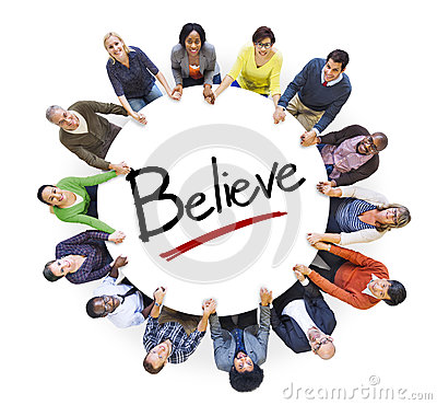 Group of People Holding Hands and Belief Concept