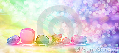 Vibrant healing crystals on Bokeh banner