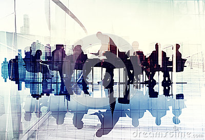 stock image of abstract image of business people silhouettes in a meeting