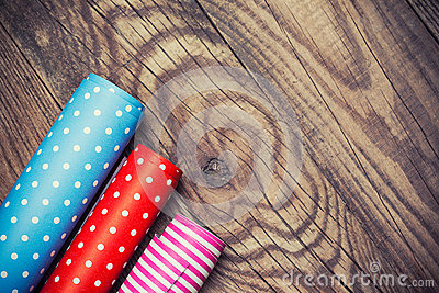 Rolls of colored wrapping paper