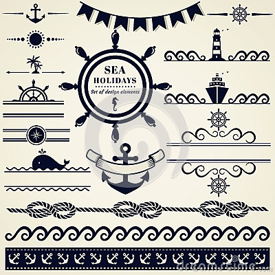 Nautical and sea design elements. Vector set.