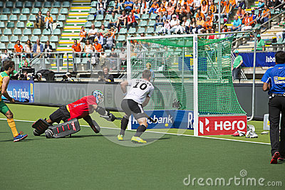 Germany beats South Africa during the Hockey World Cup 2014