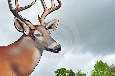 Deer with antlers wooden sign