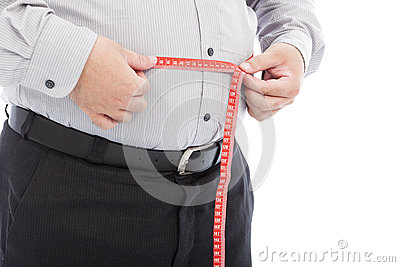 Fat business man use scale to measure his waistline