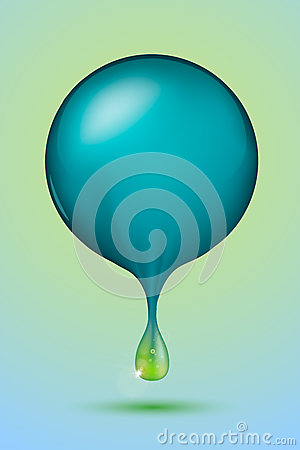 Blue sphere with a green drop