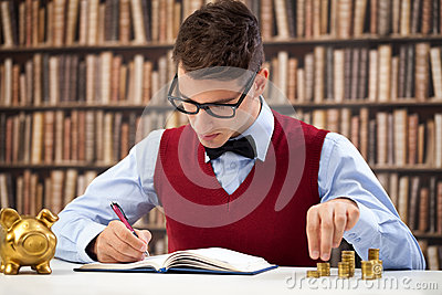 Accountant making note