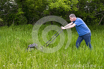 Man with Lawnmower Mowing Tall Grass and Big, Large Lawn