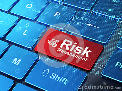 Business concept: Calculator and Risk Management