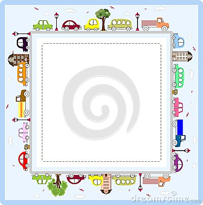 Baby Greeting Card Or Frame With Cars Art Illustration