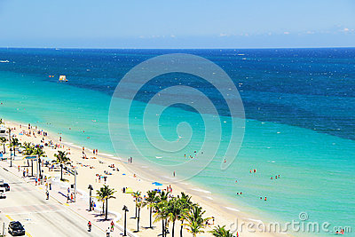 Aerial View of Fort Lauderdale Beach in Fort Lauderdale, Florida USA