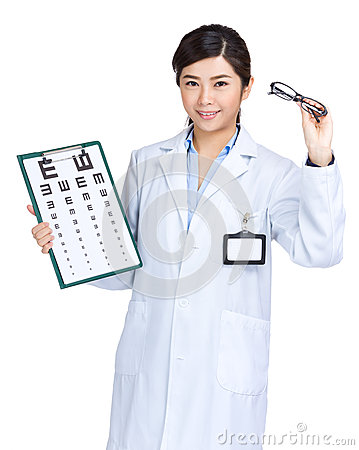 Female optician doctor hold eye chart and glasses