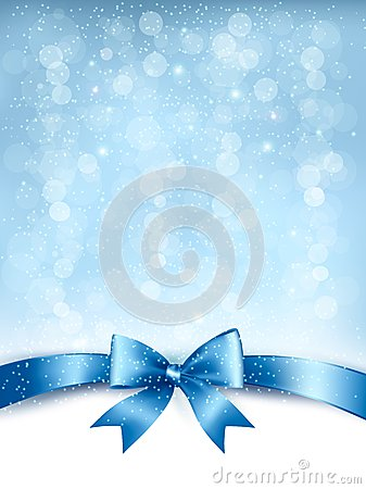 Blue elegant holiday background with gift bow and ribbon.