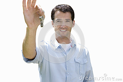 young man holding bunch of keys, cut out