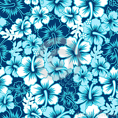 Surf floral hibiscus seamless pattern