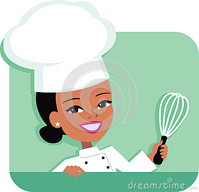 Kitchen Chef Cartoon Illustration of Woman holding