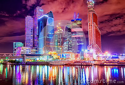 Moscow city by the night