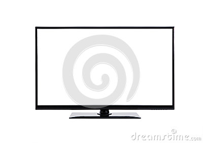 Led lcd tv monitor on white