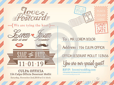 Vintage airmail postcard background template for wedding invitation