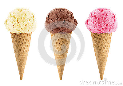 Chocolate, vanilla and strawberry Ice Cream