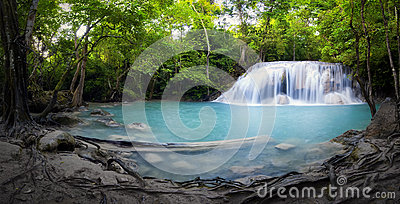 Panorama of tropical forest, waterfall and small pond