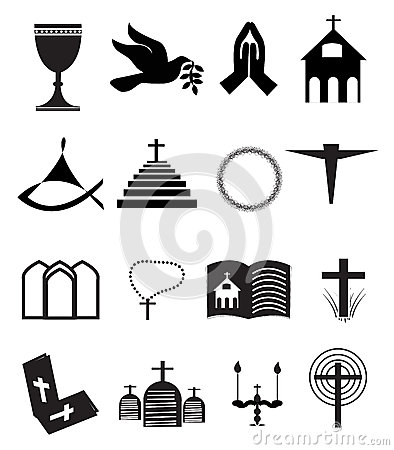 Collection of 16 black and white Christianity icons.