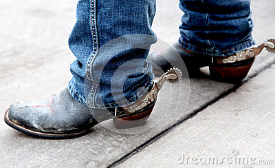 Cowboy Boots with Rusted Silver spurs