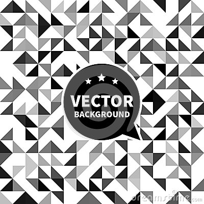 Vector seamless background pattern, white black triangle.