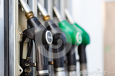 Fuel nozzle at the gas station