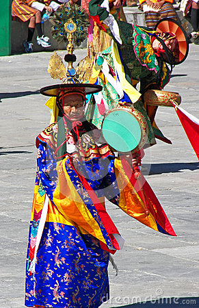 Drum Dancers in Action at Wangdue Tshechu Festival