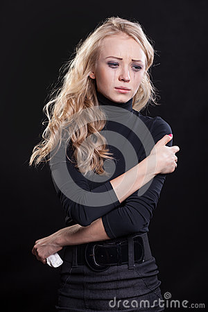 Upset crying woman. tragic expression.
