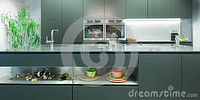 Frontal view of modern anthracite kitchen