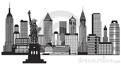 New York City Skyline Black and White Illustration Vector