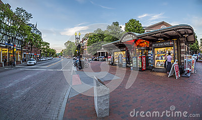 Harvard Square in Cambridge, MA, USA
