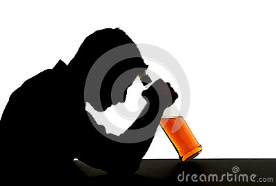 Alcoholic drunk man with whiskey bottle in alcohol addiction silhouette
