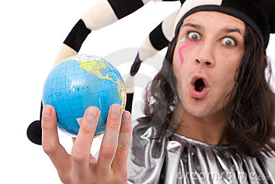 Funny jester with globe