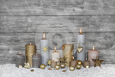 Merry christmas greeting card: wooden grey shabby chic backgroun