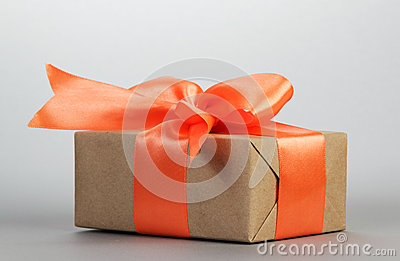 Gift box with orange bow