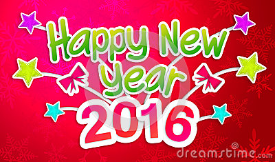 Red Happy New Year 2016 Greeting Art Paper Card