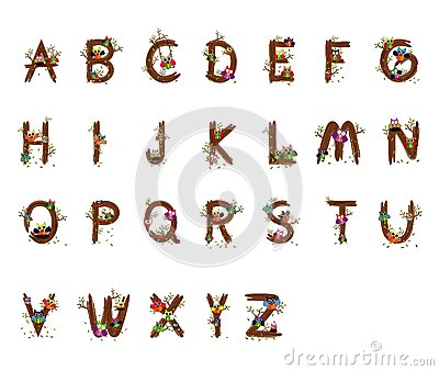 Owl Wood Vector Letters A To Z Fonts