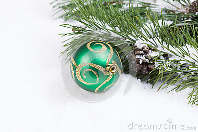 Green and Gold Christmas Ornament with Fir branch