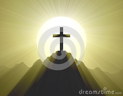Mountain top cross holy light halo