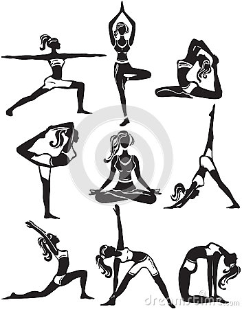 Set Of Doing Yoga Poses