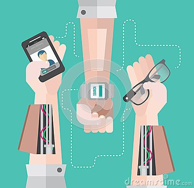 Robotic arms with smartphone and smart watch