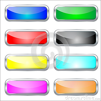 Set of colorfull glossy glass web buttons