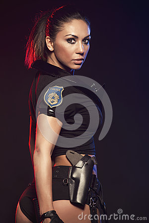 Sexy woman with police uniform