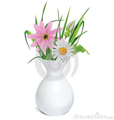White vase with a bouquet of summer flowers and grass